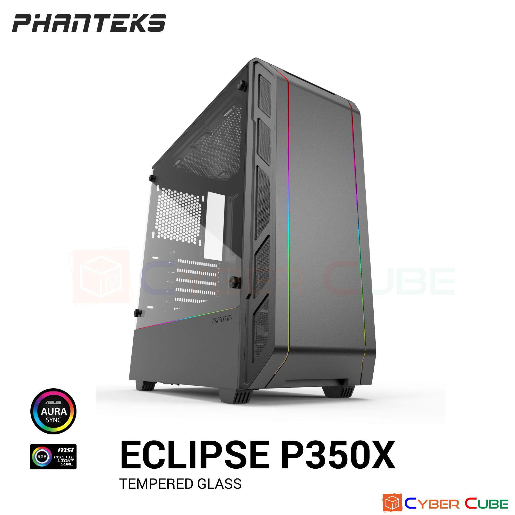 Phanteks Eclipse P350x Drgb Tempered Glass Case (เคส) - Black By Cybercube.