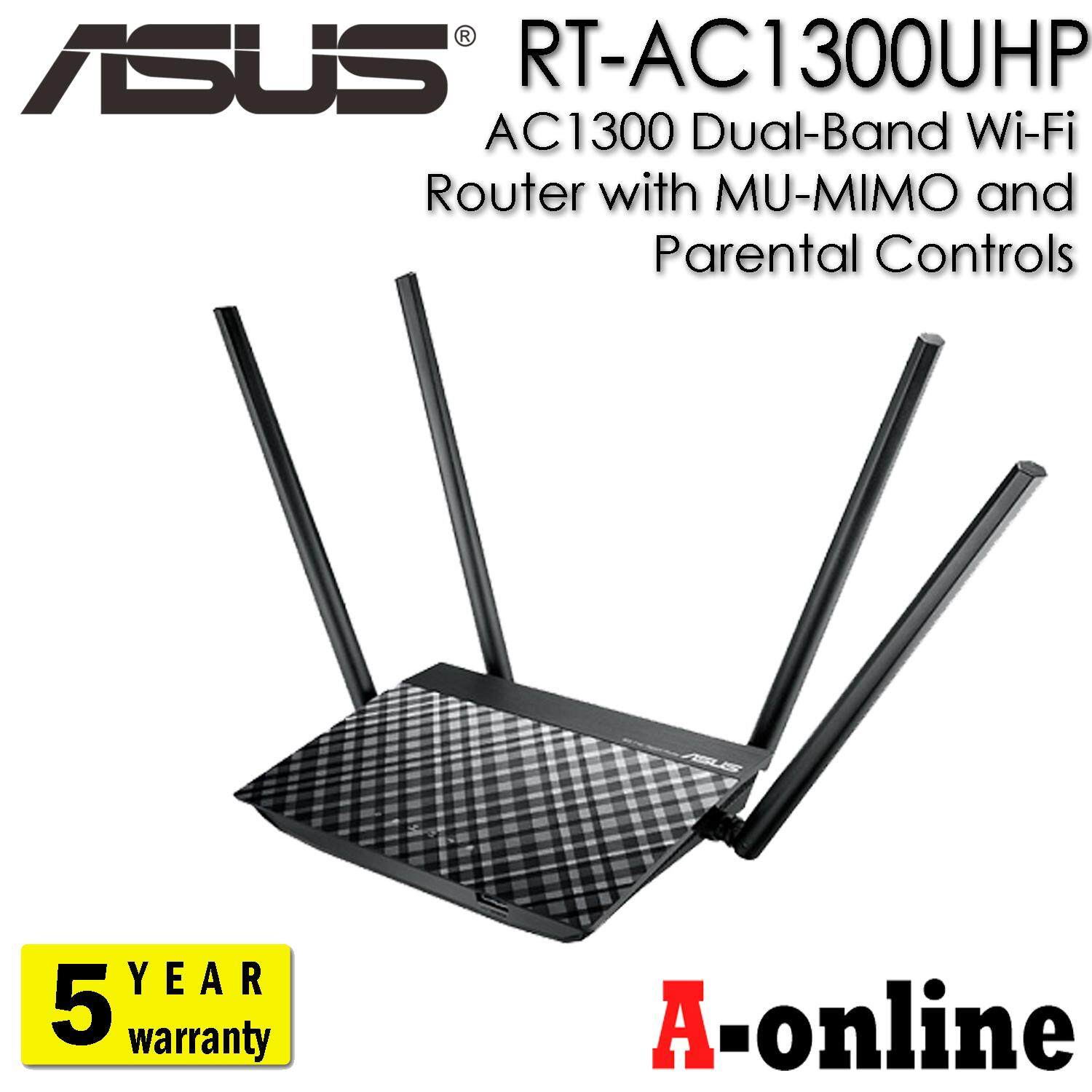 Asus Rt-Ac1300uhp Ac1300 Dual-Band Wi-Fi Router With Mu-Mimo And Parental Controls/aonline.