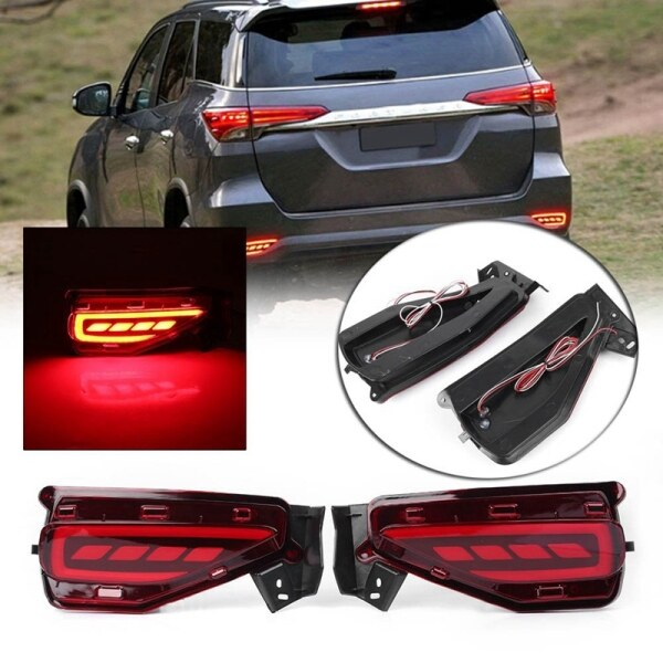 1 Pair Led Rear Bumper Reflector Brake Tail Light Lamp Fits 2015-2017 for Toyota Fortuner