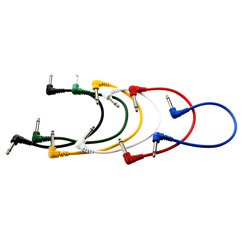 Set of 6pcs Colorful Guitar Patch Cables Angled for Guitar Effect Pedals
