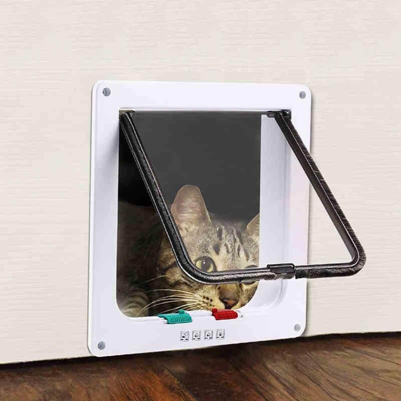 Miti4 พร้อมส่ง ประตูแมว Pet Door สีขาว ประตูเสริมสำหรับสุนัขขนาดเล็ก แมว ไซส์ใหญ่ Size L มีชำระเงินปลายทาง St023.