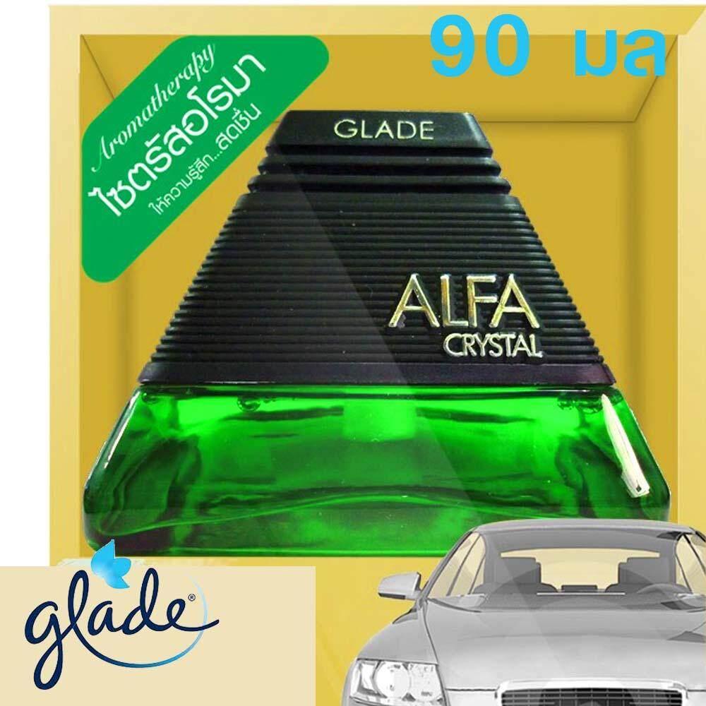 Glade Alfa Crystal เกลด อัลฟ่า คริสตัล น้ําหอมปรับอากาศในรถยนต์ สีเขียว ขนาด 90 มล.ที่ปรีบอากาศ ที่ปรับอากาศรถยนต์.