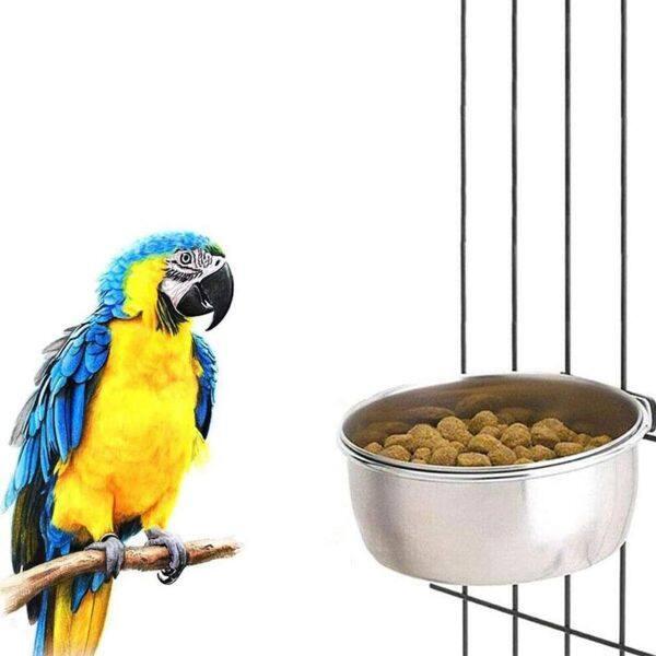 GA27524 Vẹt Đuôi Dài Lovebird Kẹp Thú Cưng-Đĩa Đựng Thức Ăn Treo, Cốc Lồng Inox Bát Cho Vẹt Ăn, Dụng Cụ Uống Nước Bird Feeder