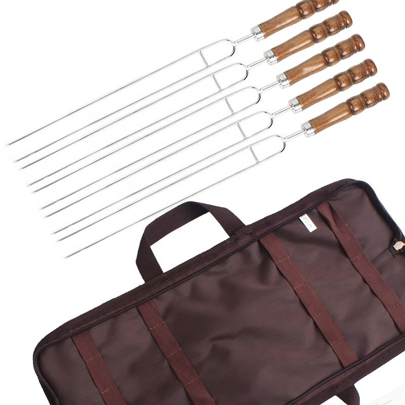 Outdoor Home Kitchen BBQ Grilled Stainless Steel Grilled Wood Handle U-Baked Pin Picnic BBQ Meat Fork 5 Piece Set