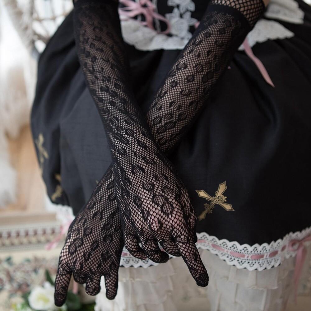 TERESA Găng Tay Dài Lolita Chấm Bi Chống Nắng Màu Đen Trắng Cô Dâu Cho Nữ Mỏng, Găng Tay Ren Tay Áo