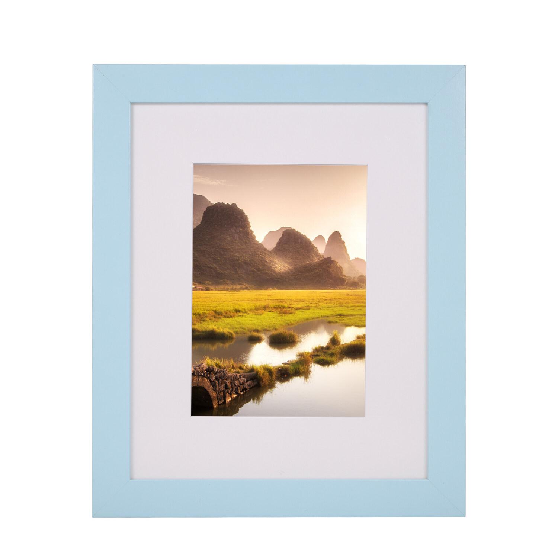 Khung ảnh bằng gỗ 165 * 115mm Kích thước hình ảnh Thiết kế treo cho phòng khách gia đình Trang trí phòng ngủ màu xanh