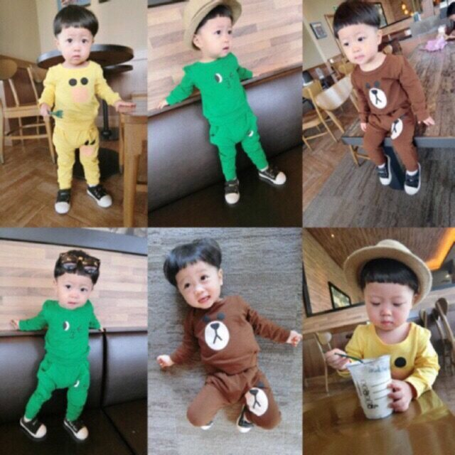 ชุด Line สุดฮิตค่ะ ชุดเด็ก(6เดือน-3ขวบ) เสื้อแขนยาว กางเกงขายาว.