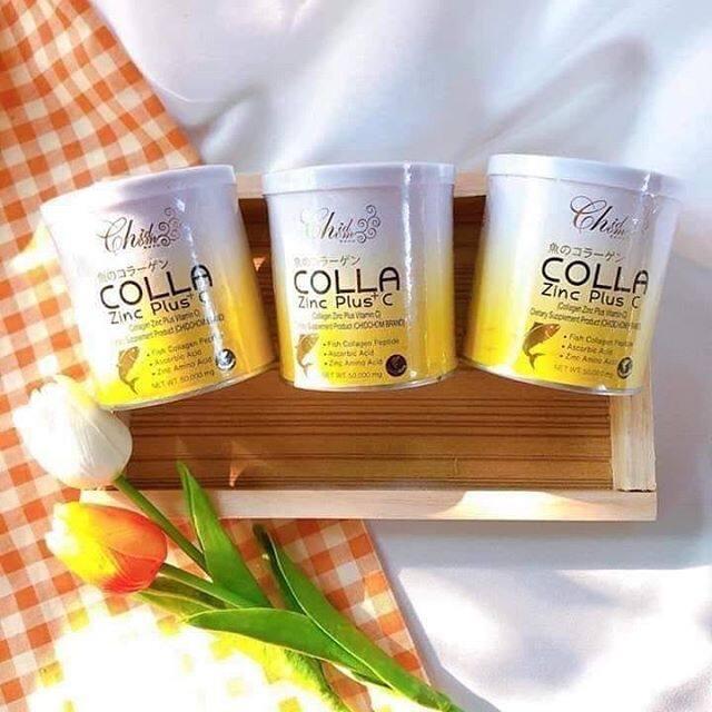 เซ็ต 3 กระปุก Colla Zinc Plus C อาหารเสริม คอลลาเจน พลัส วิตามินซี [50 กรัม][1 กระปุก].