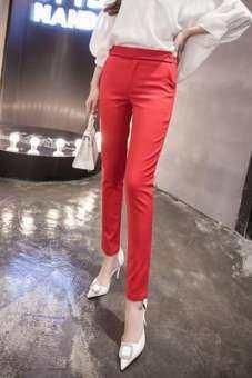 กางเกงขายาวสตรีรัดรูปขาเล็ก (สีดำ)