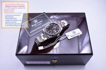 Royal Crown นาฬิกาข้อมือชาย สายสแตนเลสอย่างดี รุ่น 3662M (Black/Silver)