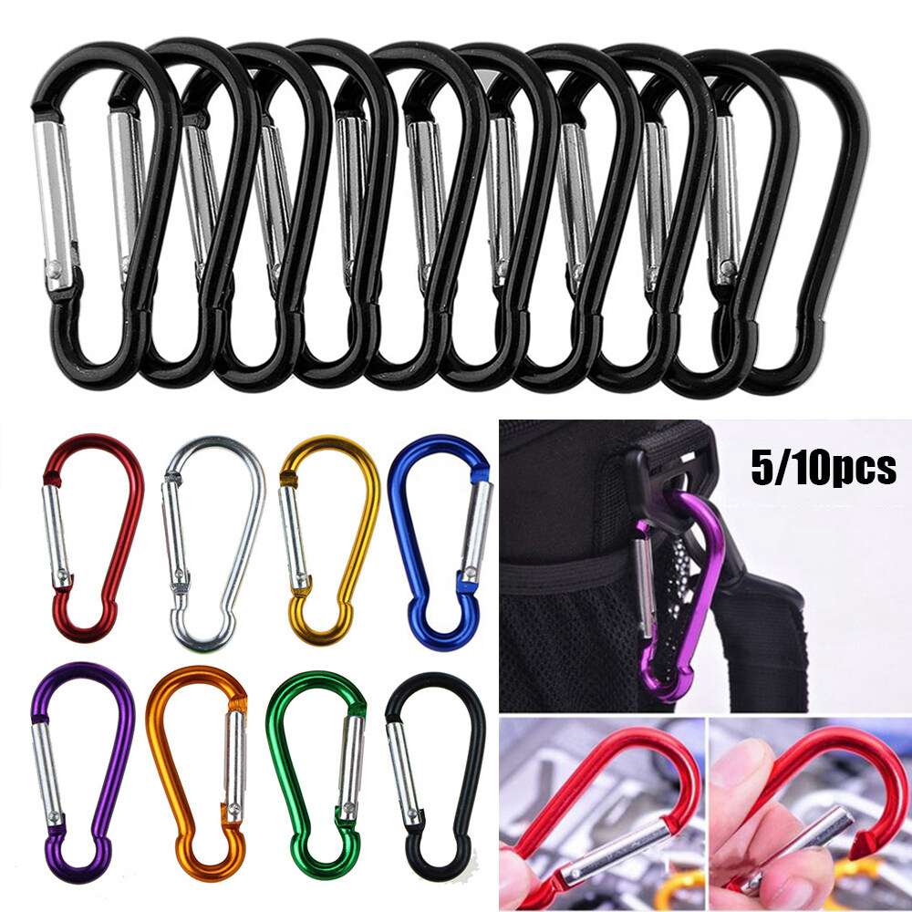 Safety Buckle Keychain Camping Hiking Hook Alloy Carabiner Climbing Button