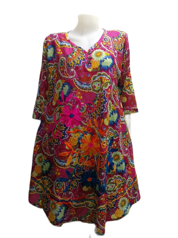 เสื้อผ้าป่านอินเดียอก48 คอวีกุ้นแหลมมีห่วงคล้องกระดุม3เม็ด เสื้อตัวยาว เสื้อสาวอวบ เสื้อผ้าคนอ้วนเสื้อใส่เที่ยวพร้อมส่งค่ะ.