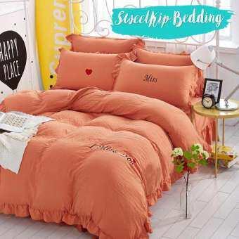 Sweet Kip ชุดเครื่องนอน ผ้าปูที่นอน ไยไหม 3.5ฟุต, 5ฟุต, 6ฟุต พร้อม ผ้าห่ม ใยไหม ขนาด 6 ฟุต รวม 6 ชิ้น สีพาสเทล