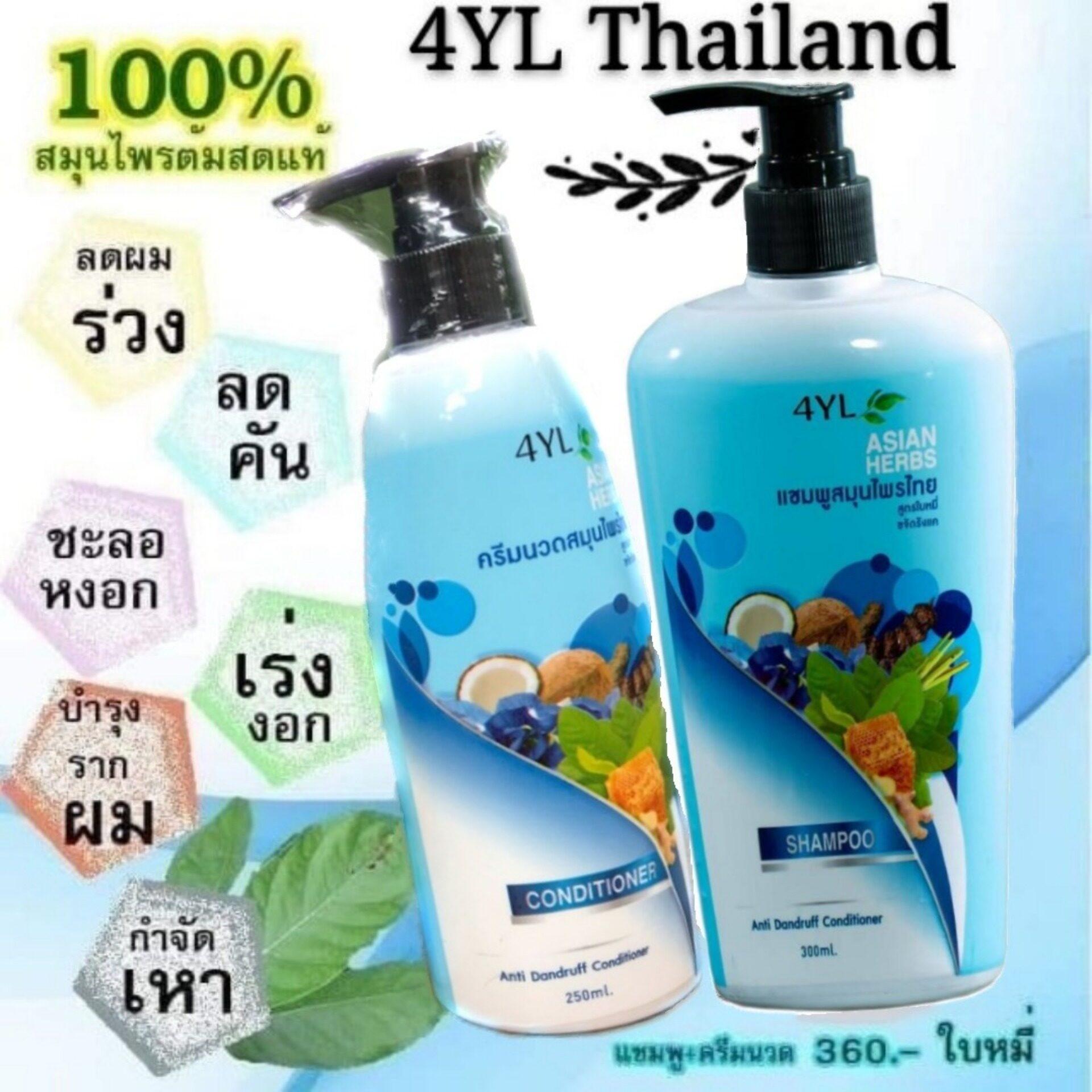 ☘️แชมพูสมุนไพรต้มสดสูตรใบหมี่ 4YL Thailand สูตรขจัดรังแค แก้เชื้อราบนหนังศีรษะ (แชมพู+ครีมนวด)