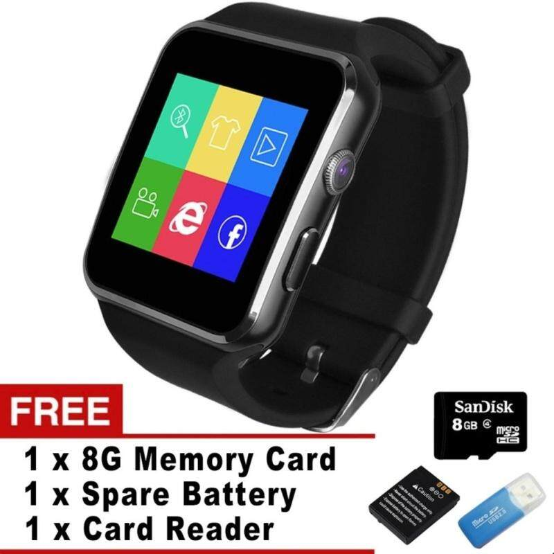 Bluetooth Smart Watch X6 Smartwatch for Apple iPhone Android Phone With Camera FM Support SIM Card (Black) – intl