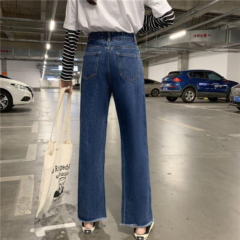 【s/m/l/xl】 กางเกงยีนส์เอวสูงหญิง กางเกงทรงหลวม กางเกงทรงตรงขากว้างรู้สึกสบาย กางเกงใส่เที่ยว ใส่ทำงาน.