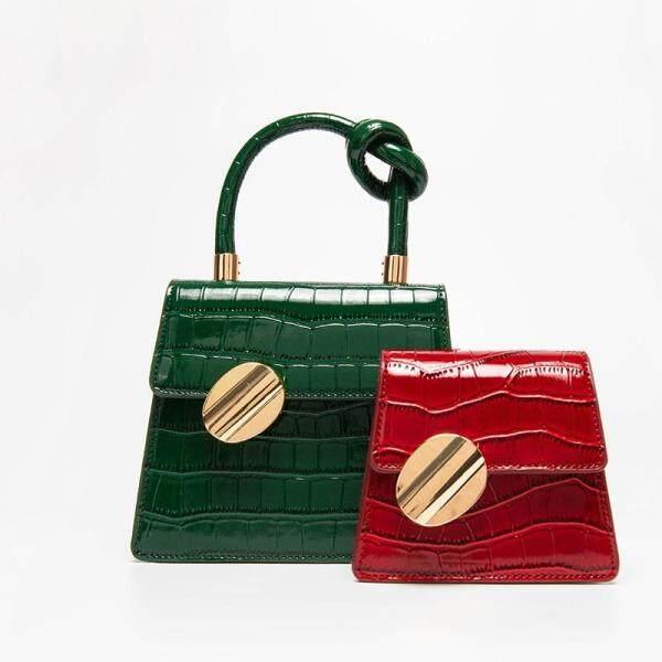 [Buy 1 Take 1 Words】 Versatile Shoulder Simple Vintage Fashion One-Shoulder Western Style Texture Western Style Shi Tou Wen Square Sling Bag