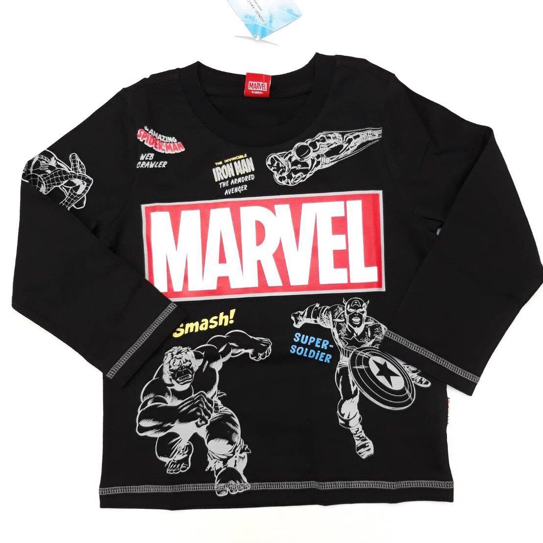 Marvels Cotton T-shirt Black Long Sleeves 3-5-7-9