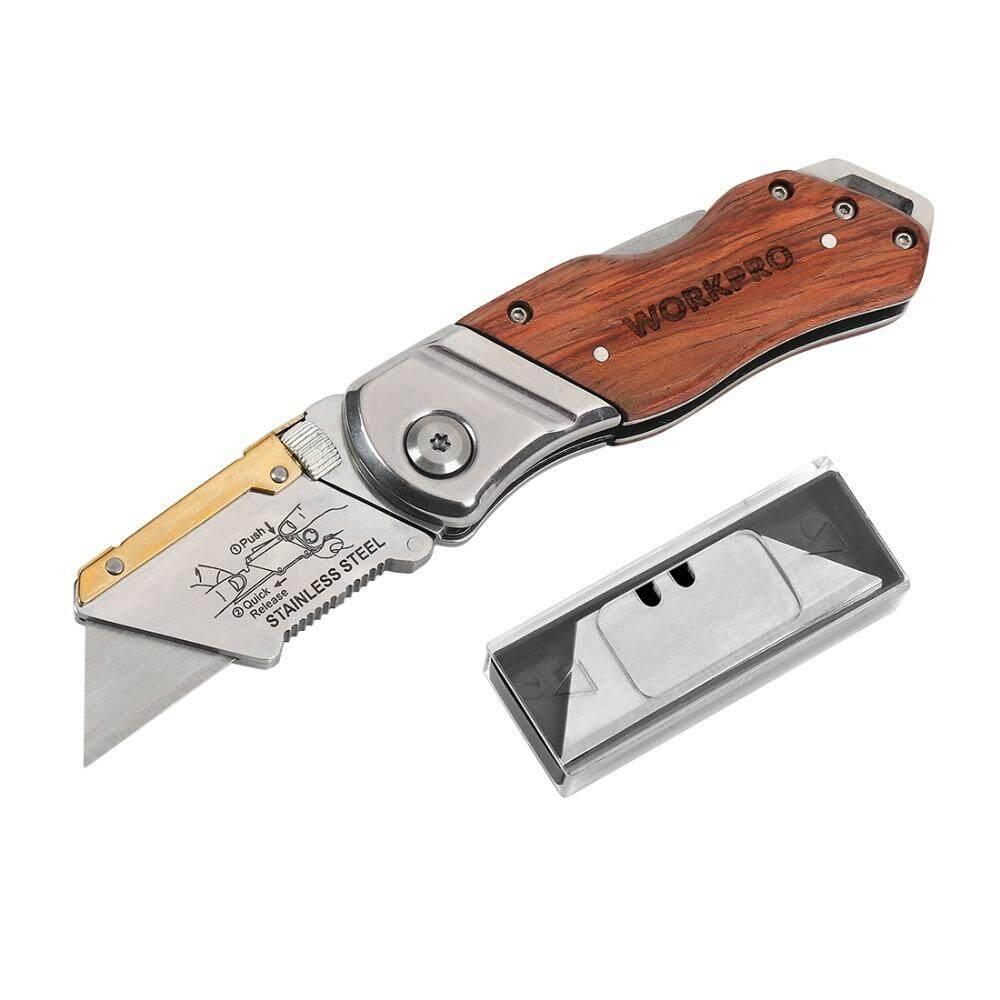 มีดช่าง มีดพับ Workpro ด้ามไม้ แถมใบมีดอีก 10 ใบ