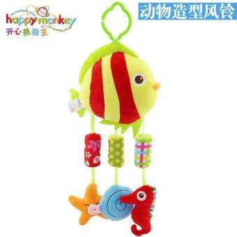Happy Monkey ตุ๊กตาของเล่นเด็ก ตุ๊กตาเด็กรูปสัตว์ ตุ๊กตาแขวนเตียงเด็ก กดมีเสียงบี๊บๆ ของเล่นเสริมพัฒนาการ-