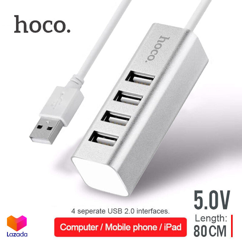 Hoco Hb1 4 Port Usb Hub 5.0v เพิ่มช่องเสียบ Usb สายยาว 80 เซ็นติเมตร Usb 2.0 สำหรับ Pc และ Notebook.