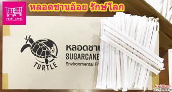 Puket Store หลอดชานอ้อย 100% ขนาด 6x210mm หลอดดูดน้ำแก้ว หลอดดูดน้ำ ทำจากชานอ้อย สามารถย้อยสลายเองได้  Sugarcane Fiber Straws สี 3000 หลอด ไม่หุ้มกระดาษ