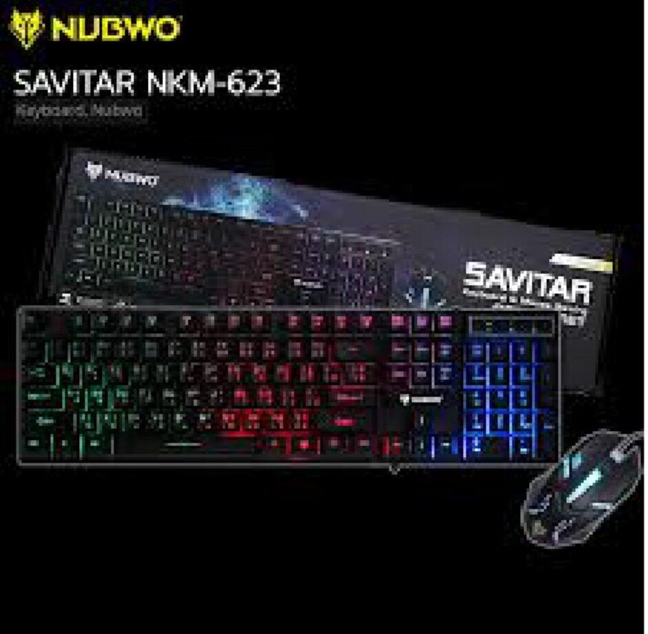 Nubwo Nkm 623 ชุดไฟทะลุอักษร Keyboard+mouse Combo Set Savitar Black.