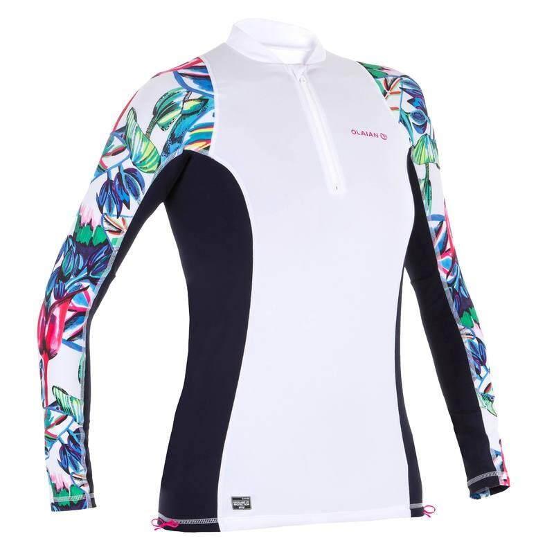 6ec77244 Olaian Womens Uv Protection Surfing Top T-Shirt 500  เสื้อยืดโต้คลื่นป้องกันรังสี