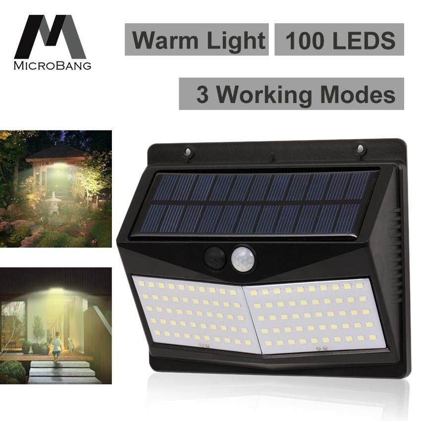 MicroBang Upgraded 100 LED Solar Lights Outdoor Lighting Wall Light Waterproof Motion Sensor Light Wireless Solar Powered Wall Lamp Outside Security Night Light for Driveway Patio Garden Path (Warm/White Light)