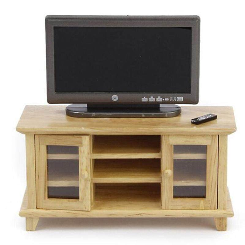 1//12 TV Cabinet /& Television with Remote Set Dollhouse Miniature Furniture