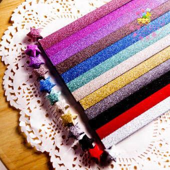 เพรชประกายพับกระดาษพับดาวขวด Lucky Star 条管กระดาษสีสี DIY เด็กนักเรียนวัสดุหัตถกรรมดาวกระดาษของขวัญ
