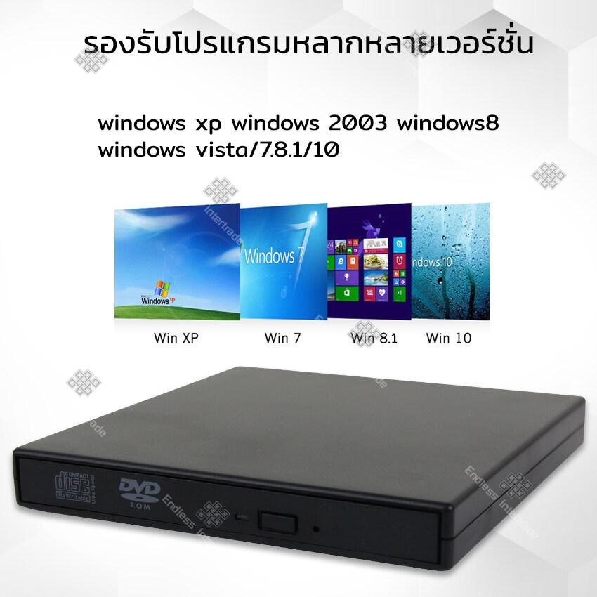 ไดรฟ์ดีวีดี Dvd-Rom แบบพกพา Portable External Dvd-Rom ไดรฟ์ภายนอก Dvd-Rom แบบพกพา น้ำหนักเบา รองรับ Usb2.0 ดีวีดีรอมไดรฟ์ ไม่ต้องลงโปรแกรม รุ่น Dvd Writer External.