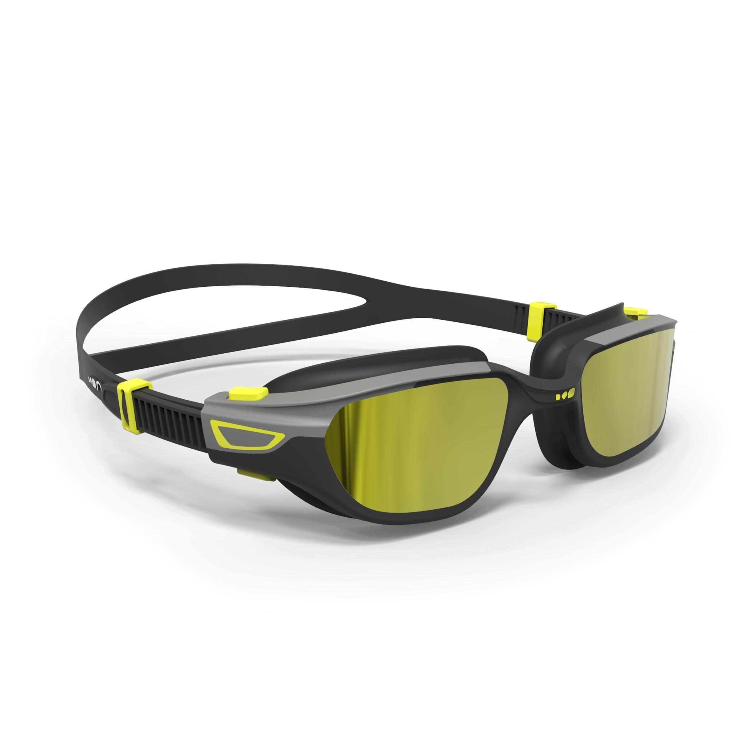 [ถูกที่สุด!!!] แว่นตาว่ายน้ำรุ่น 500 SPIRIT ขนาด L (สีดำ/เทา เลนส์สะท้อนแสง) สำหรับ ว่ายน้ำ