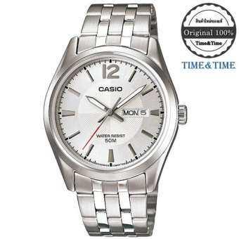 Time&Time Casio Standard นาฬิกาข้อมือผู้ชาย สีขาว/เงิน สายสแตนเลส รุ่น MTP-1335D-7AVDF