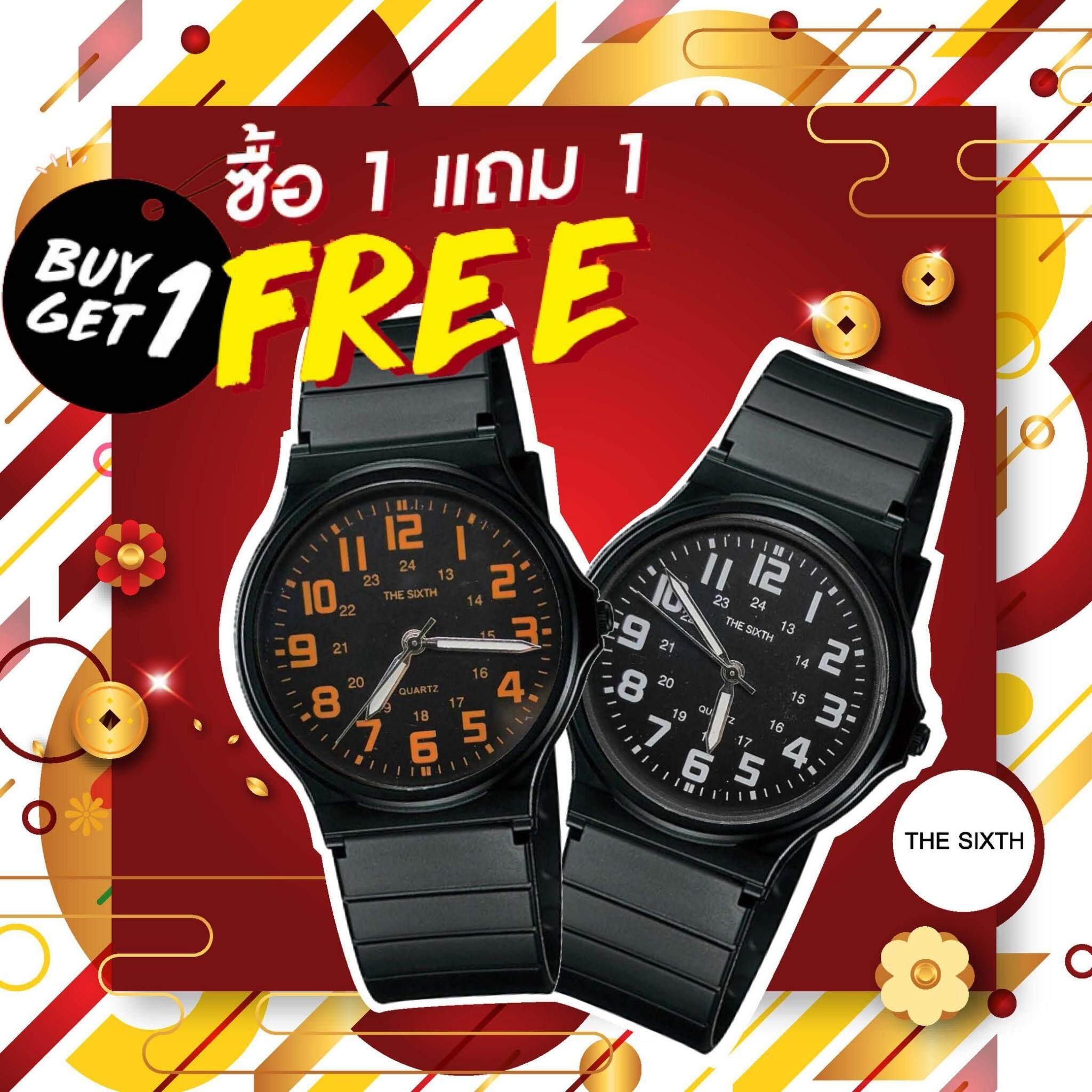 (ซื้อ 1 แถม 1 ) The Sixth นาฬิกาข้อมือ Unisex สไตล์แบรนด์ดังแท้ พร้อมส่งจัดส่ง R-114 By Riches.lzd.