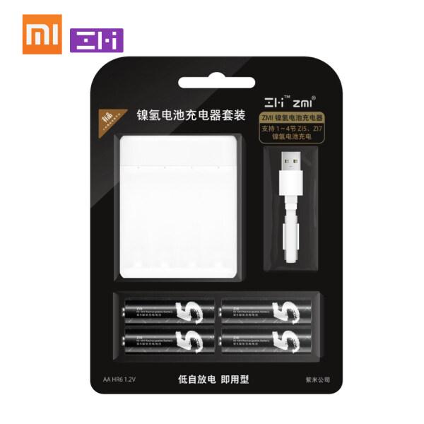 Bộ Sạc Pin Xiaomi ZMI Ni-MH Cho AAA AA Z15 Z17 4 Khe Sạc Thùng Ắc Quy Thông Minh Đa Chức Năng Di Động 1700MAh