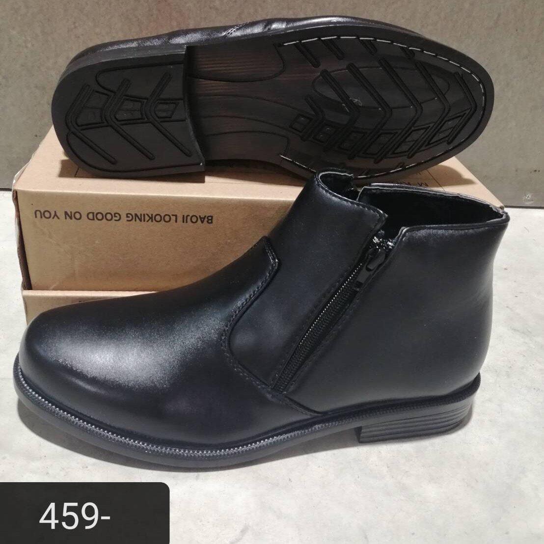 รองเท้าหนังหุ้มข้อชาย Gk164 ซิปข้าง พื้นเย็บ Size41-45.
