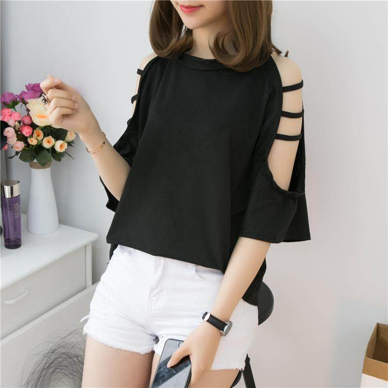 12b4f12ef91 2019 New Style Korean Style Loose And Plus-sized Half-sleeve Shirt Hollow  out