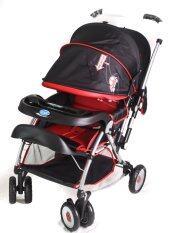 ขาย ซื้อ 9 Rak รถเข็นเด็ก ปรับนอนราบและไกวได้ สีดำแดง ใน ไทย