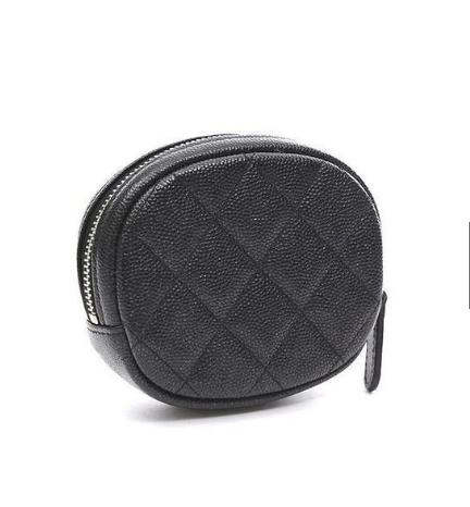 Chanel กระเป๋าใส่เหรียญคลาสสิกลิ้นจี่สีดำโซ่ทองใส่เหรียญกลม A68995.