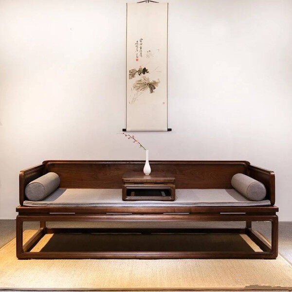 New Chinese Style Arhat Bed Zen Solid Wood Rohan Couch Formula Black Walnut Beauty Falling Furniture Three Fabrics Sofa Bed