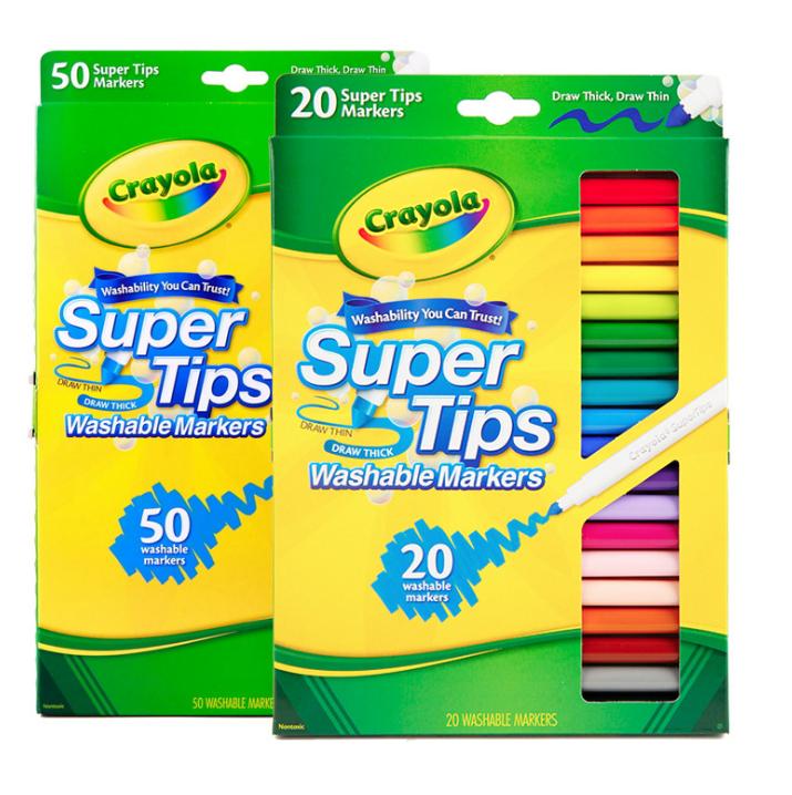 ?จัดส่งได้ทันที ?crayola ปากกาสีน้ำแท่งบางล้างทำความสะอาดได้ 20 50 สีเด็กอนุบาลวาดภาพชุดแปรงสีกราฟฟิตี.