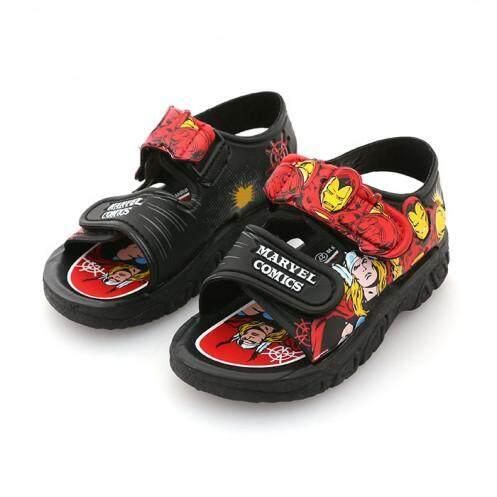 รองเท้ารัดส้นเด็ก รุ่น BC1018 ลายกัปตันมาเวล สีดำ ขนาด 29