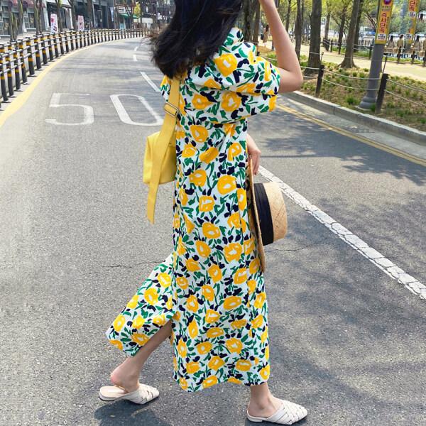 Hàn Quốc Chic Lãng Mạn Mùa Ngọt Ngào Bông Hoa Trắng Cổ Tròn Dáng Suông Rộng Dáng Dài Qua Đầu Gối Khoét Sâu Tay Bồng Đầm Nữ