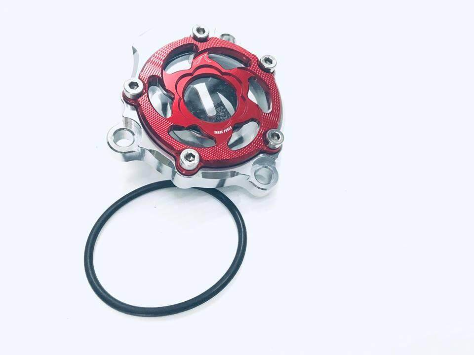 Red ครอบ กรองน้ำมันเครื่อง ตู้ปลา Yamaha M Slaz/mt15/new R 15/ R15 เก่า สีเเดง งาน Super Cnc By A Motor Outlet.