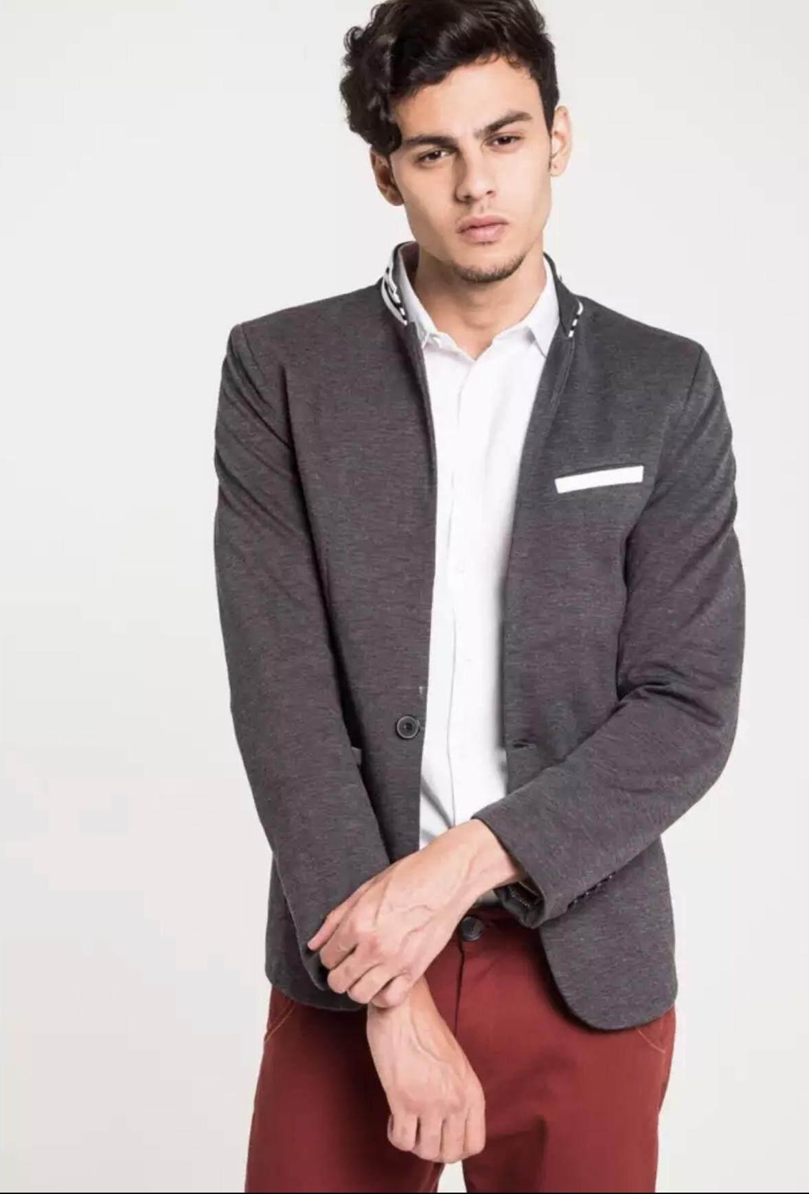 เสื้อเบลเซอร์ เสื้อสูทผู้ชาย B&b East Meets West Striped Collar 901.
