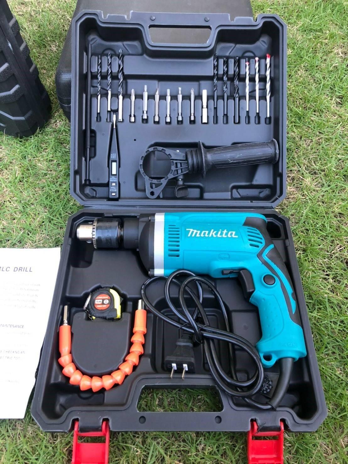 ชุดกระเป๋า สว่านกระแทก Makita  2 ระบบ Hp1630  มาพร้อมอุปกรณ์พื้นฐาน.