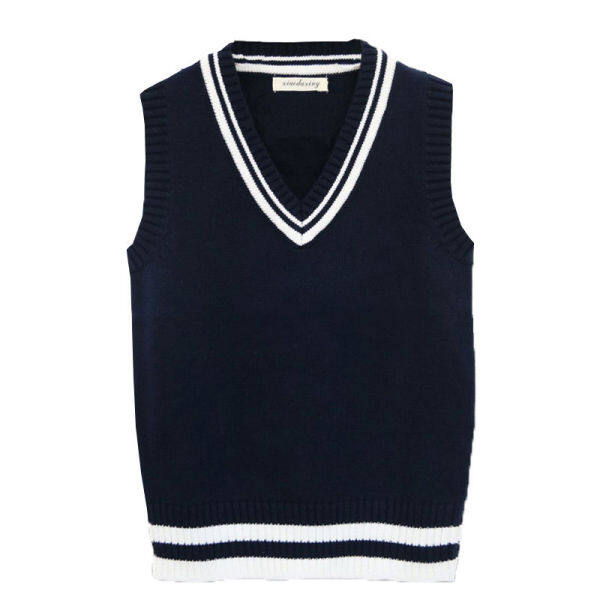 Valazo [Cotton wool] wool vest mens college style autumn and winter thickened V-neck large size sleeveless knit vest