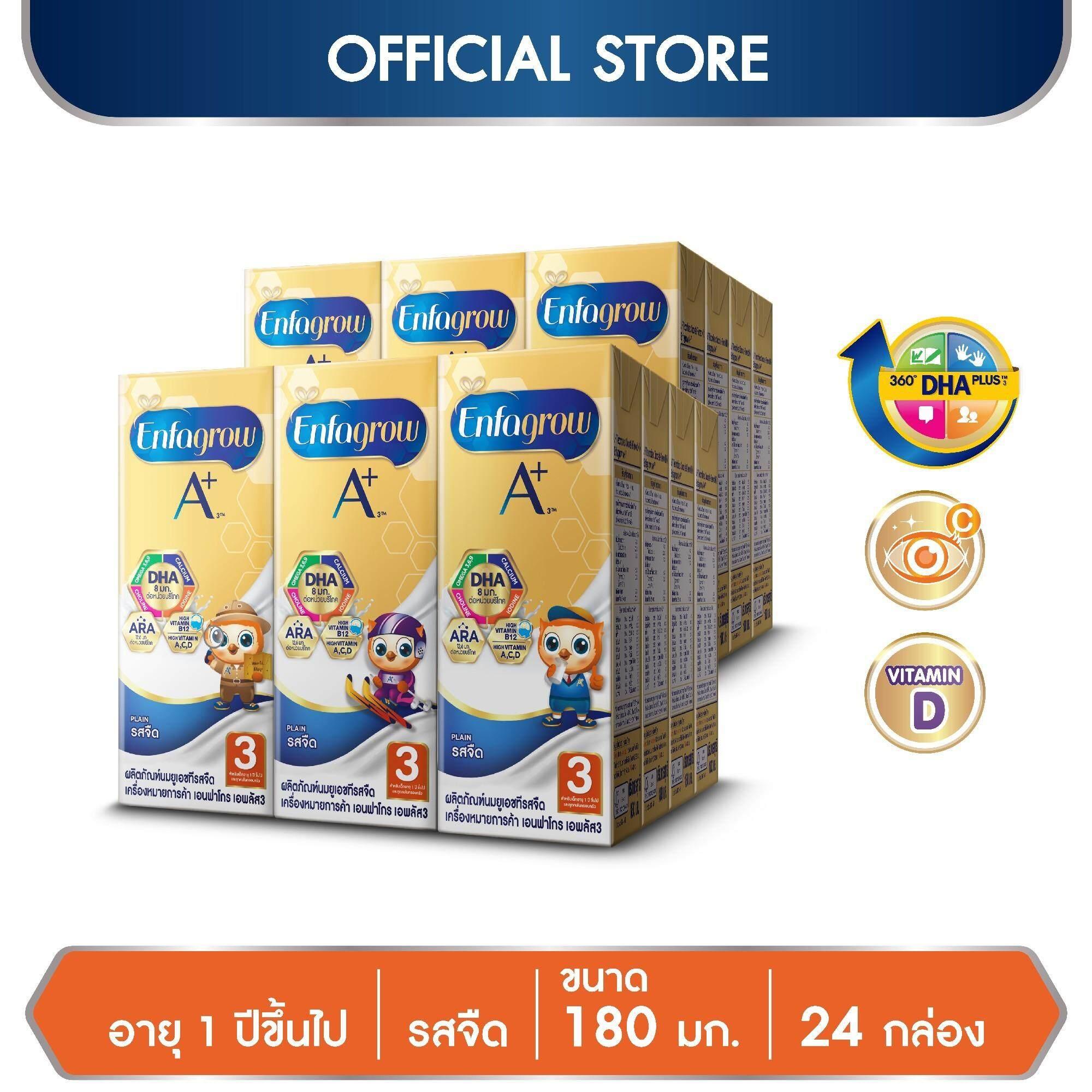 นมกล่อง ยูเอชที Enfagrow เอนฟาโกร เอพลัส สูตร 3 รสจืด Uht สำหรับ เด็ก 24 กล่อง 180 มล. By Lazada Retail Enfagrow.