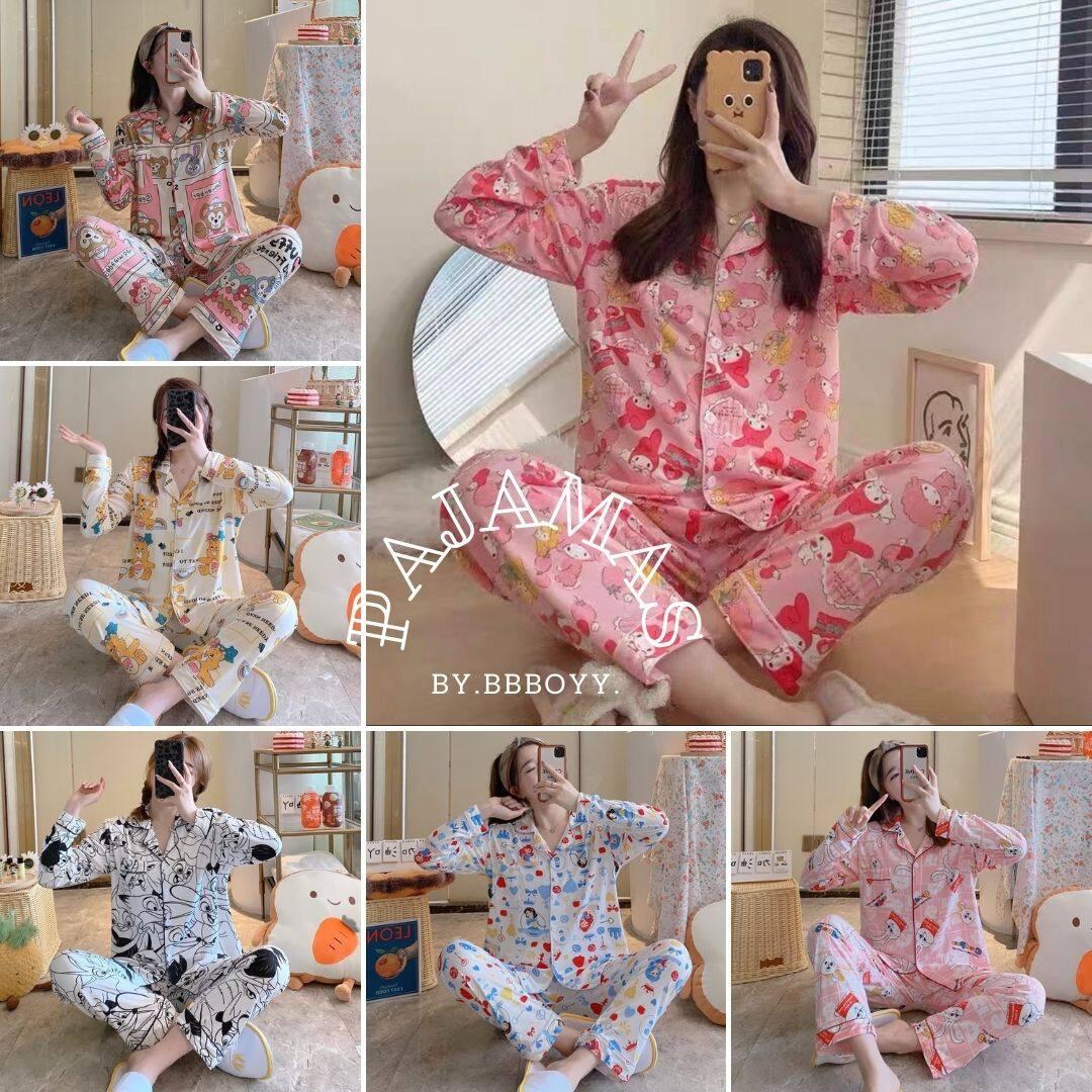 E Link 12? ชุดนอนผู้หญิง ผ้าคอตตอนแขนขายาว ชุดนอนคอตตอน ผ้าคอตตอน ชุดนอนสไตล์เกาหลี ผ้านิ้ม ไม่บาง ผ้าดีมากพร้อมส่ง ?.